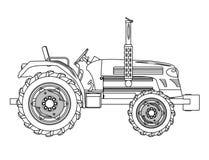 绿色被隔绝的拖拉机概述 免版税图库摄影