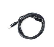 黑色被隔绝的被折叠的USB缆绳 库存照片