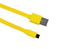 黄色被隔绝的usb缆绳微usb 免版税库存照片