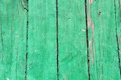 绿色被绘的老木头 库存图片