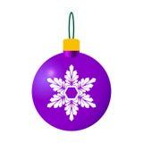 紫色装饰圣诞节球 库存例证