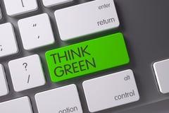 绿色认为-在键盘的绿色按钮 3d 免版税库存图片