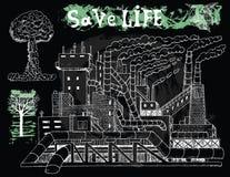 黑色设置与工厂和污染题材 库存照片