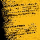 黄色轮胎轨道横幅 免版税库存照片