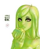 绿色软泥女孩 免版税库存图片