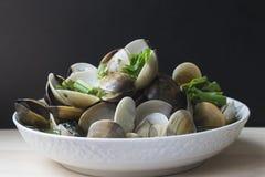 绿色辣椒油煎了搪瓷金星壳或淡菜 库存照片