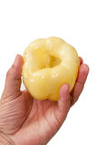 黄色辣椒粉在手上 库存图片