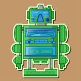 绿色逗人喜爱的机器人传染媒介设计 免版税库存照片