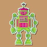 绿色逗人喜爱的机器人传染媒介设计 库存照片