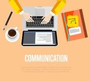 黑色通信概念收货人电话 顶视图办公室工作区 图库摄影