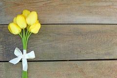 黄色郁金香和弓 免版税库存图片