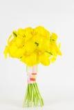 黄色郁金香手被栓的安排 图库摄影