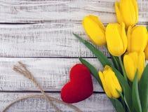 黄色郁金香花束在白色土气木背景的 库存照片