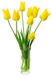 黄色郁金香花束在花瓶的 库存照片