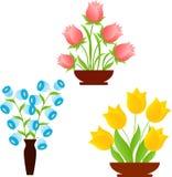 黄色郁金香,桃红色玫瑰,蓝色花 库存图片