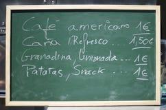 绿色酒吧黑板西班牙人文本 库存照片