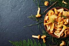 黄色采蘑菇黄蘑菇在葡萄酒板材的鸡油菌属cibarius有黑暗的厨房用桌顶视图的森林植物的 库存图片