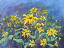 黄色野花,油画 库存图片