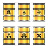 黄色金属桶 免版税库存照片
