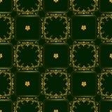 绿色金黄无缝的样式 免版税库存照片