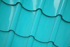 绿色钢屋顶纹理 免版税库存图片