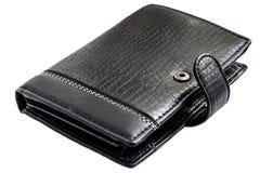 黑色钱包 背景查出的白色 免版税库存照片