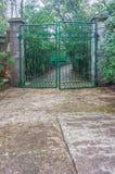 绿色铁门和道路方式停放 免版税库存图片