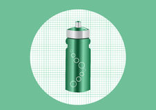 绿色铝瓶装水,例证 库存照片