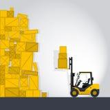 黄色铲车装载者在商店运作 向量例证