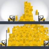 黄色铲车装载者在商店-漫画小条运作 库存例证