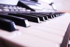 黑色键盘键钢琴行空白木 免版税图库摄影