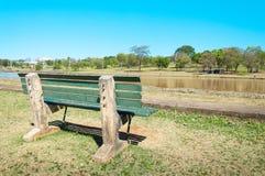绿色长凳排列到在一个非常平安的地方的左边在公园与绿色植被和湖 免版税库存图片