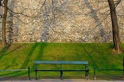 绿色长木凳在早晨春天公园 免版税库存照片