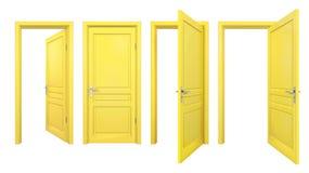 黄色门的收藏,隔绝在白色 免版税库存照片