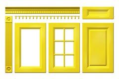 黄色门,抽屉,专栏,在白色隔绝的厨柜的檐口的前面收藏 免版税库存照片