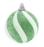 绿色闪烁圣诞节球 库存图片