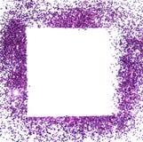 紫色闪烁闪闪发光框架在白色背景的,可以为招呼或邀请卡片使用 库存照片