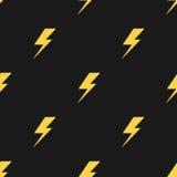 黄色闪电黑传染媒介无缝的样式 皇族释放例证