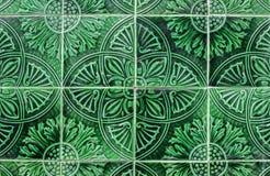 绿色阿拉伯陶瓷砖特写镜头 库存图片