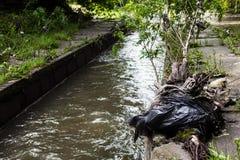 绿色附注污染水 在都市小河银行的垃圾 库存照片