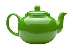 绿色陶瓷茶壶 免版税库存图片