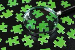 绿色难题和放大镜 库存图片
