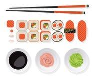 黑色集合射击寿司 经典寿司集合顶视图滚动与三文鱼,剁 免版税库存图片