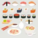 黑色集合射击寿司 寿司传染媒介动画片样式 日本食物对象被设置的传染媒介例证 免版税库存照片
