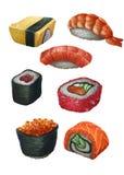 黑色集合射击寿司 库存图片