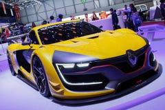 黄色雷诺炫耀R S 01日内瓦汽车展示会2015年 免版税图库摄影