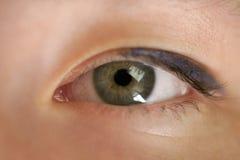 绿色青少年的女孩眼睛特写镜头正面图 免版税库存图片