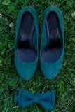 绿色鞋子和一只蝴蝶在草 库存照片