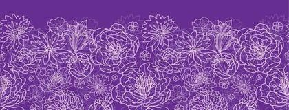 紫色鞋带开花水平的无缝的样式背景边界 免版税库存照片