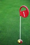 绿色领域、高尔夫球场和球在孔 免版税库存照片